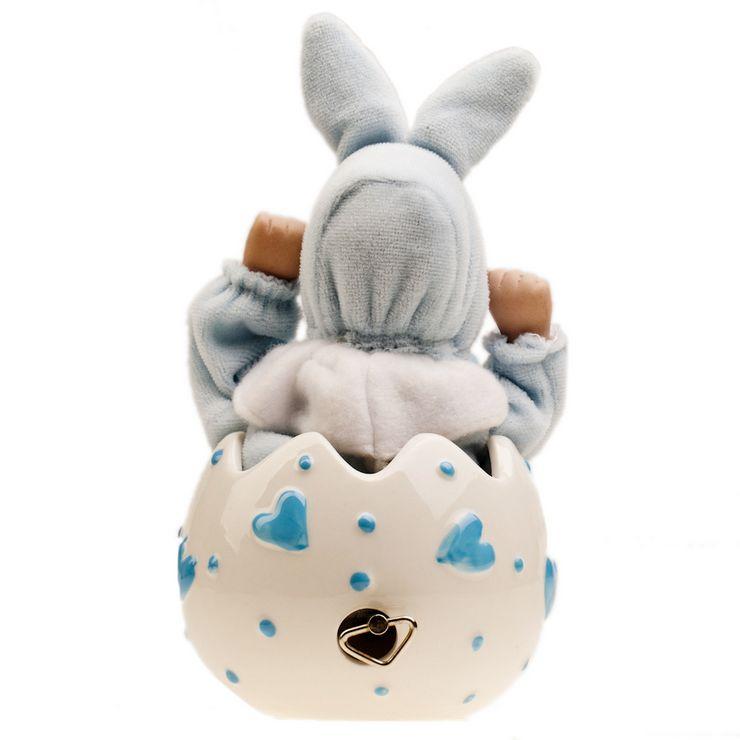 悦盈 可爱心型图案陶瓷蛋壳娃娃兔宝宝音乐盒 蓝色 天空之城
