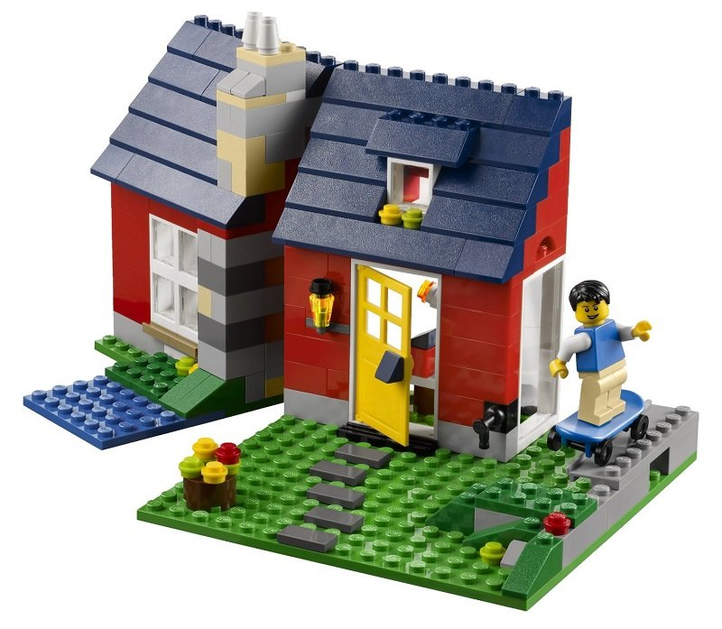 乐高积木拼装图纸房子风车
