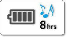 Up to 8 hours music playback.