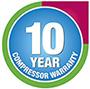 10 Years Compressor Warranty