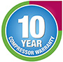 10 years compressor warranty