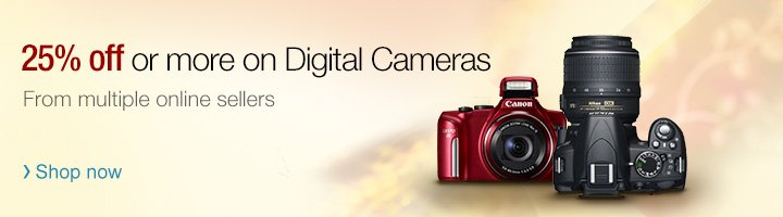 25% off or more on Digital Cameras