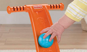 Baby can slide balls down into the Popper