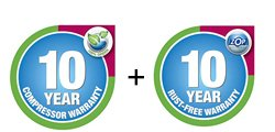 10 Year Compressor Warranty + 10 Year Rust Free Warranty