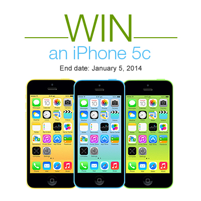 iPhone 5c Sweepstakes. One lucky winner gets an iPhone 5c from Junglee. Ends: January 5th, 2014