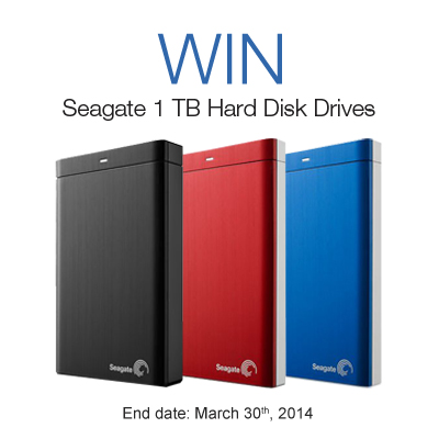 HDD Sweepstakes. 3 lucky winners each get a Seagate 1 TB Hard Disk Drive. Ends: March 30th, 2014