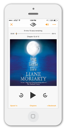 iPhone Audible App with Big Little Lies by Liane Moriarty