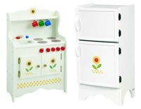 Sunflower Kitchen and Refrigerator Set - Wooden Painted Children