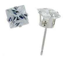 Sterling Silver 1.0 Carat Size Square (princess) Cut Cubic Zirconia Stud Earrings