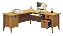 Bush 71 Inch L-Desk - Mission Point - WC91310 - (Planked Maple)