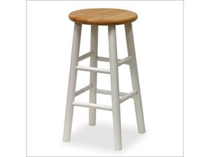Winsome Wood 24-Inch Beveled Seat Barstool with Natural and White Finish, Set of 2