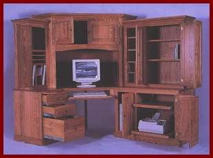6 PC Deluxe Computer Center-Oak (Light Stain)
