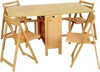 LINON 5 PIECE NATURAL SPACE SAVER DINING SET- 901NATSET-01-KD