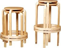 LINON 24 INCH BENTWOOD STOOL SET OF 4 - 1772NAT-04-AS
