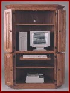 Corner Computer Center-Oak (Dark Stain) 