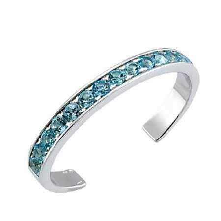 Sterling Silver Toe Ring with Channel Set Light Blue CZ