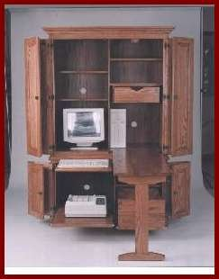 Deluxe 2 PC Computer Center-Cherry (Washington Stain)