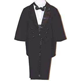 Wedding Ring Bearer Tux Baby Boy-Youth Tuxedo Suit Tails