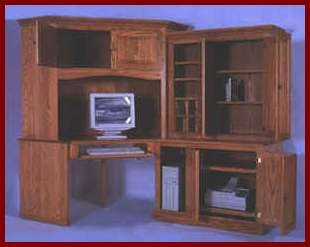 4-PC Corner Computer Center-Oak (Light Stain)