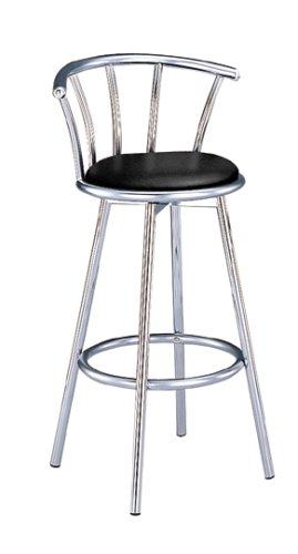 Set of 2 29 inch H Retro Black Swivel Chrome Barstools