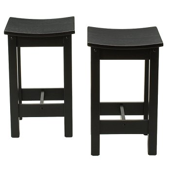 24 inch Antique Black Scoop Stool - Set of 2