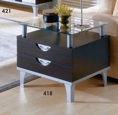 Quebeko 418 Pablo Espresso End Table 2 Drawers