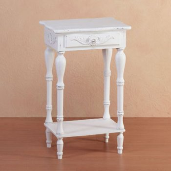 Distressed-Style Side Table with White Antique Finish - Aspen Country Store