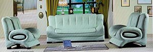 3 Piece Green Leather Match Living Room Set