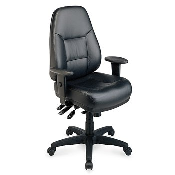 Office Star Deluxe Ergonomic Leather Chair - Black