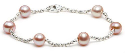 Sterling Silver Pink Freshwater Cultured Pearl Station Bracelet, 7.25\