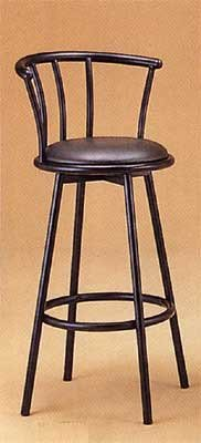 Set of 2 Satin Black Finish Metal Swivel Bar Stool