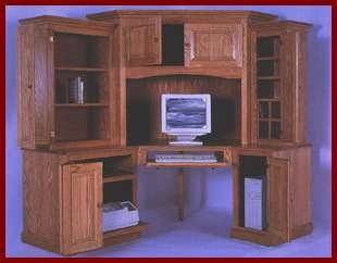 6-PC Corner Computer Center-Cherry (Colonial Stain)