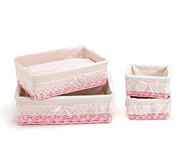 Set Of 4 Baby Girl Pink Willow Storage Baskets Beautiful As Nursery Decor And Storage