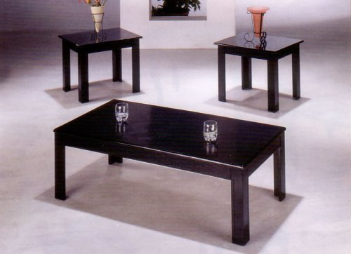 BEAUTIFUL BLACK FINISH COFFEE / END TABLE 3-PC SET