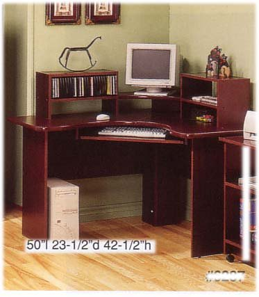 CORNER WORKSTATION WITH KEYBOARD DRAWER IN CHERRY