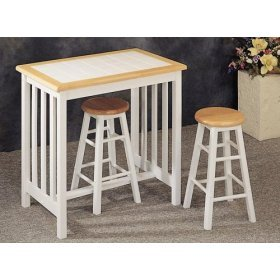 3 Piece Natural-White Bar Stool Set By Coaster Furniture