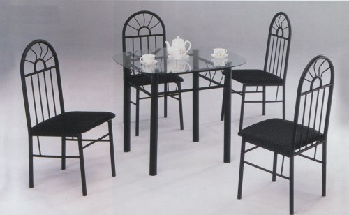 5 PIECE BLACK METAL DINING SET - Glass Top Table a 