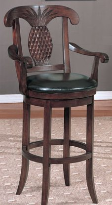Extra Large Seat Dark Brown Leather Swivel Barstool with Crafted Arm and Backrest