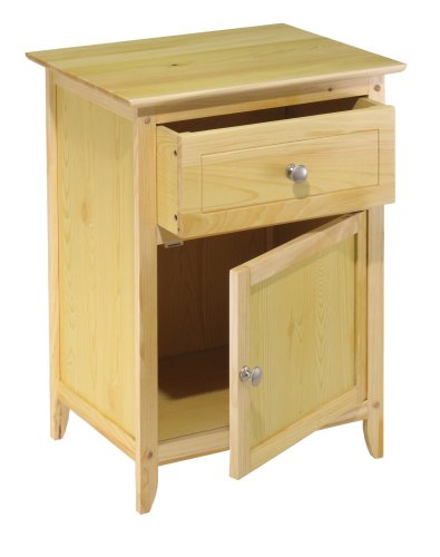 Winsome 81115 Night Stand with Cabinet and Drawer - Natural
