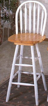 Arrowback Windsor Bar Stool with Swivel Seat in Natural/ White Finish