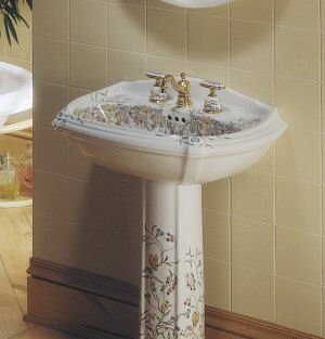 Portrait Pedestal Lav w/ English Trellis design K-14192-FL