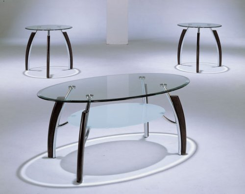 Modern Style 3 PIECE GLASS TOP COFFEE TABLE SET Wood and Chrome - Coffee Table and 2 End Tables