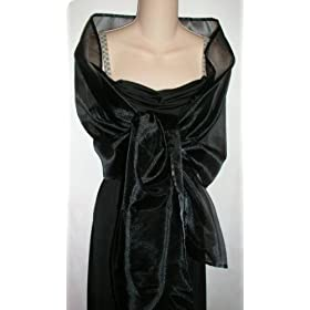 Black Sheer Organza Evening Wrap Shawl for Prom Wedding Bride