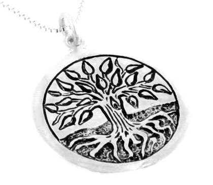 Mourie Sterling Silver Celtic Birth Charm Tree Pendant for August 17 - September 8