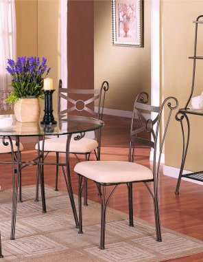 Set of 4 Wrought Iron Dining Chairs