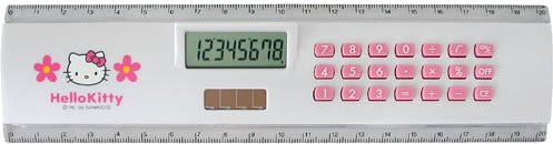 DRETEC ハローキティ 電卓付定規 ホワイト CL-107WT