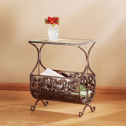 Maple Leaf Glass Table/Magazine Rack