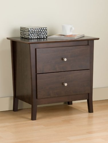 Prepac EMH-2524 Manhattan 2 Drawer Night Table Espresso