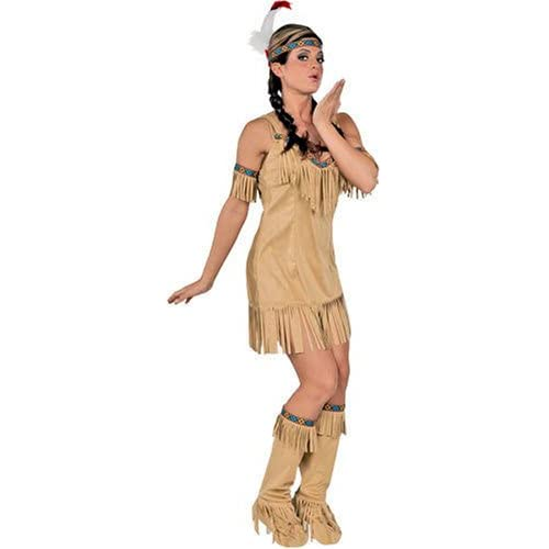 Sexy girl in Native American Princess Costume Mini Dress with Cuffs and Boot Tops