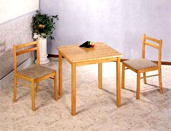 3pc Natural Finish Wood Dining Table and 2 Chairs Dinette Set